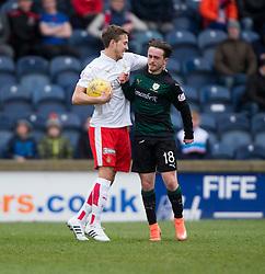 Falkirk's Will Vaulks with Raith Rovers Aidan Connolly. <br /> Raith Rovers 2 v 2 Falkirk, Scottish Championship game played 23/4/2016 at Stark's Park.