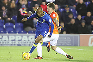 AFC Wimbledon midfielder Jimmy Abdou (8) battles for possession with Southend United forward Simon Cox (10) during the EFL Sky Bet League 1 match between AFC Wimbledon and Southend United at the Cherry Red Records Stadium, Kingston, England on 1 January 2018. Photo by Matthew Redman.