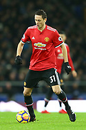 Nemanja Matic of Manchester United in action. Premier league match, Everton v Manchester Utd at Goodison Park in Liverpool, Merseyside on New Years Day, Monday 1st January 2018.<br /> pic by Chris Stading, Andrew Orchard sports photography.