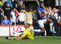 Football - 2019 / 2020 Premier League - AFC Bournemouth vs. Everton<br /> <br /> Bournemouth goalkeeper, Aaron Ramsdale comes out to foil Dominic Calvert - Lewin, at The Vitality Stadium (Dean Court).<br /> <br /> COLORSPORT/ANDREW COWIE