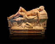 Etruscan funerary monument  known as  Adonis Dying, late 3rd century BC, made of terracotta and discovered near Tuscania, inv 14147, The Vatican Museums, Rome. Black Background. For use in non editorial advertising apply to the Vatican Museums for a license.
