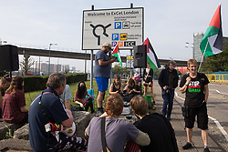 Human rights activists protest outside ExCeL London against the DSEI 2021 arms fair on 6th September 2021 in London, United Kingdom. The first day of week-long Stop The Arms Fair protests outside the venue for one of the world's largest arms fairs was hosted by activists calling for a ban on UK arms exports to Israel.