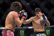 DALLAS, TX - MARCH 14:  Roger Narvaez fights Elias Theodorou during UFC 185 at the American Airlines Center on March 14, 2015 in Dallas, Texas. (Photo by Cooper Neill/Zuffa LLC/Zuffa LLC via Getty Images) *** Local Caption *** Roger Narvaez