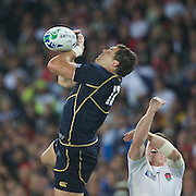 Sean Lamont, Scotland,  knocks on during the England V Scotland Pool B match during the IRB Rugby World Cup tournament. Eden Park, Auckland, New Zealand, 1st October 2011. Photo Tim Clayton...