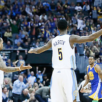 13 February 2017: Denver Nuggets guard Jameer Nelson (1) celebrates with Denver Nuggets guard Will Barton (5) during the Denver Nuggets 132-110 victory over the Golden State Warriors, at the Pepsi Center, Denver, Colorado, USA.