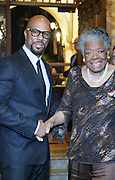 l to r: Common and Maya Angelou at the The Edmont Society Affair:  A Benefit for Reader and Writers with a performance by Common and Maya Angelou held at The Friars Club on October 27,, 2008