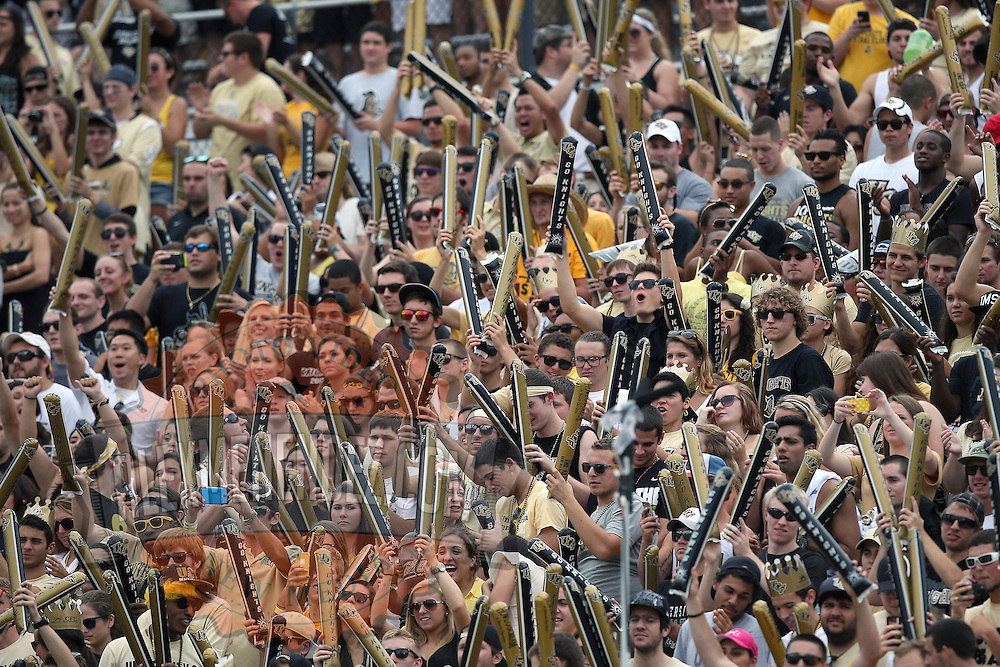 UCF Fans cheer during an NCAA football game between the South Carolina Gamecocks and the Central Florida Knights at Bright House Networks Stadium on Saturday, September 28, 2013 in Orlando, Florida. (AP Photo/Alex Menendez)