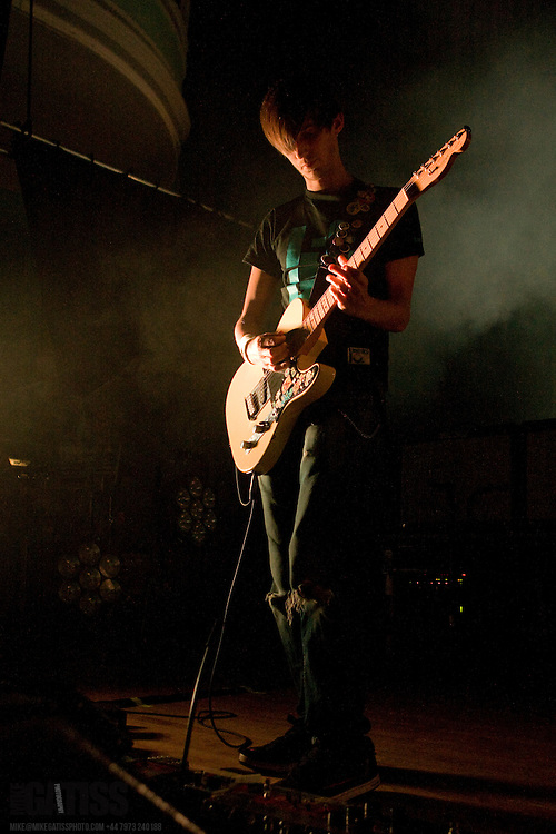 Russell Lissack of Bloc Party performing live at the Victoria Hall, Stoke-on-Trent, Staffordshire, United Kingdom, 2009-10-14