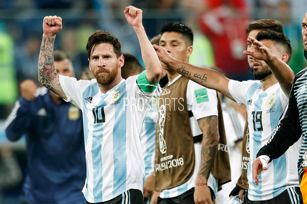 Argentina forwarder Lionel Messi celebrating the victory after the 2018 FIFA World Cup Russia, Group D football match between Nigeria and Argentina on June 26, 2018 at Saint Petersburg Stadium in Saint Petersburg, Russia - Photo Stanley Gontha / Pro Shots / ProSportsImages / DPPI