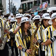 Kinetika Bloco parade at the EFG London Jazz Festival SummerStage at the LONDON Royal Albert Dock, 0n 31 August 2019, London, UK.