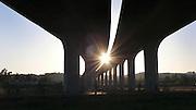 Napa River Trail under Imola Street bridge, Napa, California.