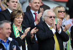 shareholder Delia smith claps Norwich City as they come out the tunnel.- Photo mandatory by-line: Alex James/JMP - Mobile: 07966 386802 30/08/2014 - SPORT - FOOTBALL - Cardiff - Cardiff City stadium - Cardiff City  v Norwich City - Barclays Premier League