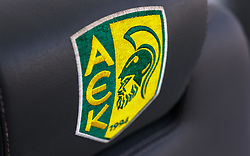 15.08.2018, AEK Arena, Larnaka, CYP, UEFA EL, AEK Larnaka vs SK Puntigamer Sturm Graz, 3. Runde, Rückspiel, Abschlusstraining im Bild AEK Logo // during the final practice session for the UEFA Europa League 3rd round, 2nd leg match between AEK Larnaka and FK Puntigamer Sturm Graz at the AEK Arena in Larnaka, Cyprus on 2018/08/15. EXPA Pictures © 2018, PhotoCredit: EXPA/ JFK
