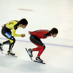 Calgary, Alberta  July 27 2005: Olympic-caliber speed skaters from Japan practice on the Olympic oval at the University of Calgary Wednesday for the upcoming speedskating season. The oval was built for the 1988 Calgary Olympics and is a popular training venue for world-class athletes.<br /> ©Bob Daemmrich