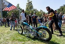 BF11 invited builder Ben Zales' custom 1963 Harley-Davidson Panhead at the Born Free Motorcycle Show (BF11) at Oak Canyon Ranch, Silverado  CA, USA. Saturday, June 22, 2019. Photography ©2019 Michael Lichter.