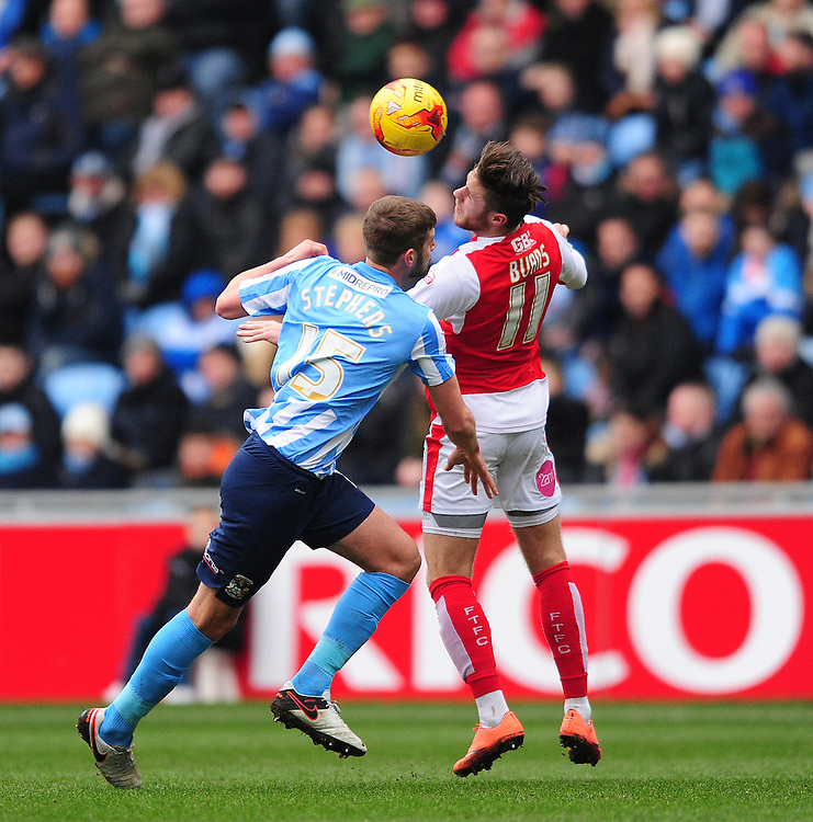 Fleetwood Town's Wes Burns vies for possession with Coventry City's Jack Stephens<br /> <br /> Photographer Chris Vaughan/CameraSport<br /> <br /> Football - The Football League Sky Bet League One - Coventry City v Fleetwood Town - Saturday 27th February 2016 - Ricoh Stadium - Coventry   <br /> <br /> © CameraSport - 43 Linden Ave. Countesthorpe. Leicester. England. LE8 5PG - Tel: +44 (0) 116 277 4147 - admin@camerasport.com - www.camerasport.com