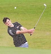 Jake Whelan (MU) chips onto the 18th green during the Final of the AIG Senior Cup at the AIG Cups & Shields National Finals in Carton House, Maynooth, Co. Kildare on the 19/09/15.<br /> Picture: Thos Caffrey | Golffile