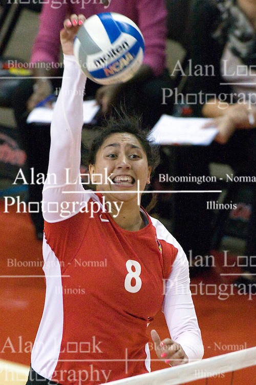 13 October 2012: Stacy Niao applies the heat during an NCAA volleyball game between the Drake Bulldogs and the Illinois State Redbirds.  The Redbirds won the match in 3 straight sets at Redbird Arena in Normal Illinois