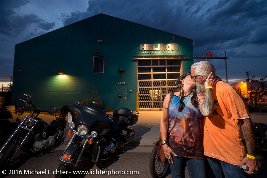 Debi and Reed Holmes at Love Thy Chopper 10. Denver, CO, USA. July 16, 2016.  Photography ©2016 Michael Lichter.