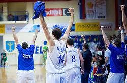 Players of Helios react during basketball match between KK Helios Domzale and KK Union Olimpija Ljubljana in 2nd Semifinal match of Telemach League 2013/14, on May 15, 2014 in Dvorana Komunalnega centra, Domzale, Slovenia. Photo by Vid Ponikvar / Sportida