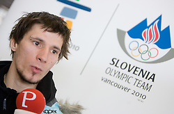 Slovenian ski jumper Robert Kranjec at arrival to Airport Joze Pucnik from Vancouver after Winter Olympic games 2010, on February 24, 2010 in Brnik, Slovenia. (Photo by Vid Ponikvar / Sportida)