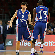Anadolu Efes's Cedi Osman (L) celebrate victory during their Turkish Airlines Euroleague Basketball Top 16 Round 11 match Anadolu Efes between Nizhny Novgorod at Abdi ipekci arena in Istanbul, Turkey, Thursday March 19, 2015. Photo by Aykut AKICI/TURKPIX