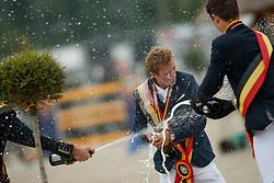 Podium Young Riders, Thomas Gilles, De WInter Jeroen, Huygebaert Thibault<br /> Belgisch Kampioenschap Young Riders<br /> Azelhof - Koningshooikt 2018<br /> © Hippo Foto - Dirk Caremans<br /> 13/05/2018
