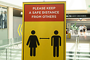 Covid-19 / Coronavirus social distancing sign in a shopping centre on 23rd June 2021 in Coventry, United Kingdom. As lockdown easing continues, measures are still in place as the public await a possible end to restrictions.