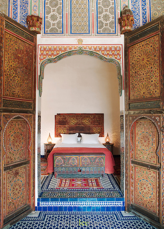 A bedroom of a luxury hotel, converted from a Dar, a traditional house, in Fes, Morocco