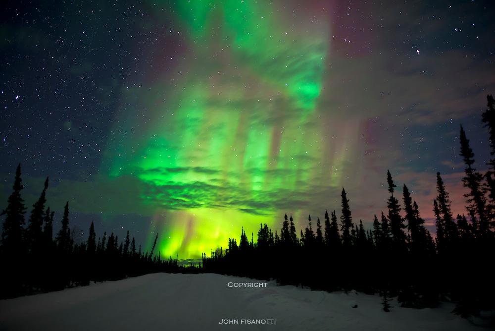 Aurora Borealis, Northern Lights, from north of Fairbanks, Alaska