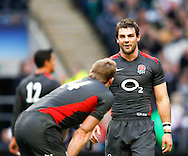 Ben Foden of England shares a joke with Chris Ashton (14) during the Investec series international between England and Australia at Twickenham, London, on Saturday 13th November 2010. (Photo by Andrew Tobin/SLIK images)