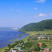 "Volga river in summer, as seen from the mountains of the National Park ""Samarskaya Luka"""