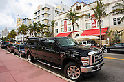 Ford F350 Super Duty SUV pickup truck in Ocean Drive, Miami South Beach, Florida USA