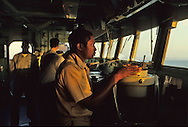 US carrier Saratoga  bridge in the Red Sea to check for weapons that could be heading towards Iraq...Photo by Dennis Brackbb 24