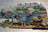 Modern Industrial Mural showing workers lives in Panaji, Goa - often called Panjim.