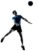 one caucasian man heading playing soccer football player silhouette  in studio isolated on white background