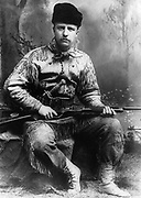 Theodore D. Roosevelt (1858-1919) 26th President of the United States of America (1901-1909).  Roosevelt in 1885 in hunting costume on his ranch in Dakota.