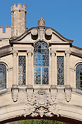 Detail of Bridge of Sighs, or Hertford Bridge in Oxford a pedestrian bridge linking together the Old and New Quadrangles of Hertford College. Built 1913. Architect: Sir Thomas Jackson
