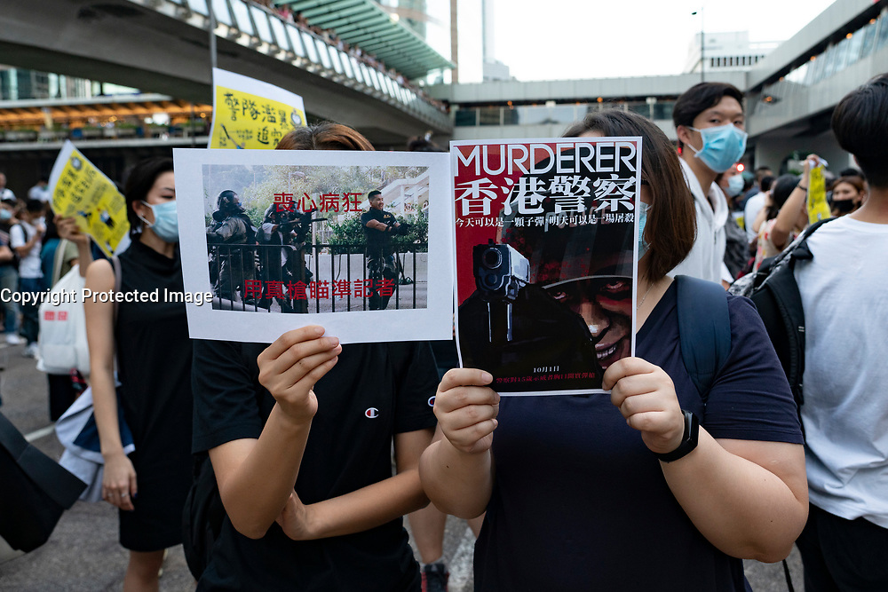 Hong Kong. 4th October 2019. Pro-democracy demonstrations and march in Central district of Hong Kong.