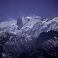 HIMALAYA, NEPAL.  High winds atop 8,091 meter (26,545') Annapurna I, world's 10th highest peak, viewed from Thorang La pass to north.