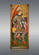 Gothic altarpiece of Archangel Michael ( Sant Miguel Arcangel) by Blasco de Branen of Saragossa, circa 1435-1445 , tempera and gold leaf on for wood.  National Museum of Catalan Art, Barcelona, Spain, inv no: MNAC   114741. .<br /> <br /> If you prefer you can also buy from our ALAMY PHOTO LIBRARY  Collection visit : https://www.alamy.com/portfolio/paul-williams-funkystock/gothic-art-antiquities.html  Type -     MANAC    - into the LOWER SEARCH WITHIN GALLERY box. Refine search by adding background colour, place, museum etc<br /> <br /> Visit our MEDIEVAL GOTHIC ART PHOTO COLLECTIONS for more   photos  to download or buy as prints https://funkystock.photoshelter.com/gallery-collection/Medieval-Gothic-Art-Antiquities-Historic-Sites-Pictures-Images-of/C0000gZ8POl_DCqE