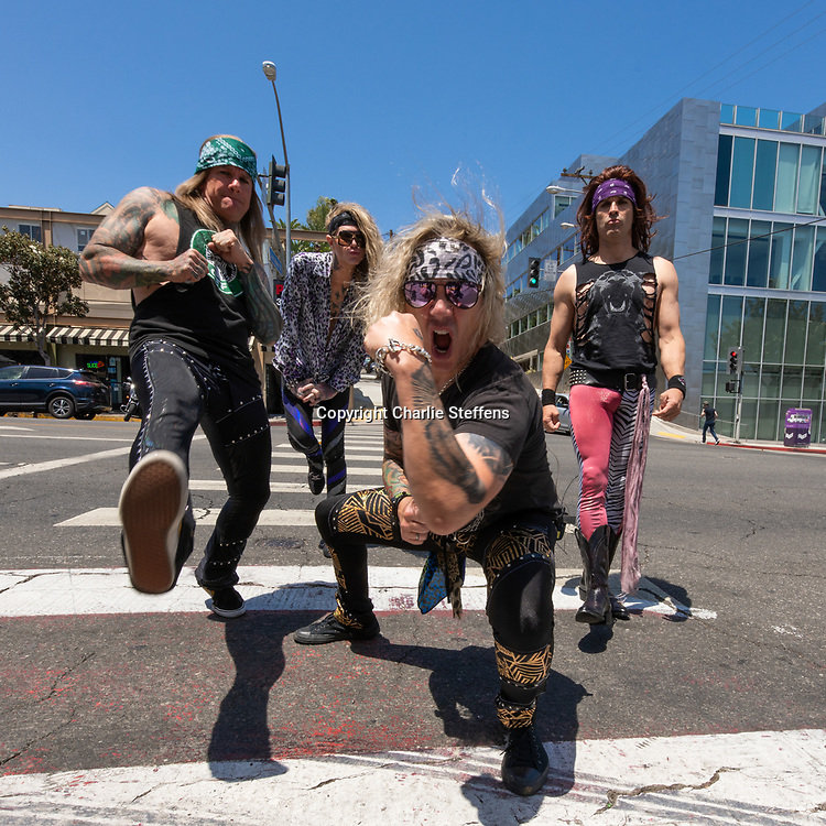 L to R: STIX ZADINIA, LEXXI FOXX, MICHAEL STARR, and SATCHEL of Steel Panther in Los Angeles, California
