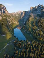 Aerial View of Idyllic Swiss Alpine Lake in Alpstein, Switzerland