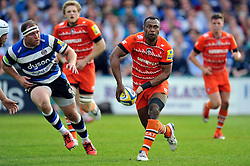 Vereniki Goneva of Leicester Tigers looks to pass the ball - Photo mandatory by-line: Patrick Khachfe/JMP - Mobile: 07966 386802 23/05/2015 - SPORT - RUGBY UNION - Bath - The Recreation Ground - Bath Rugby v Leicester Tigers - Aviva Premiership Semi-Final