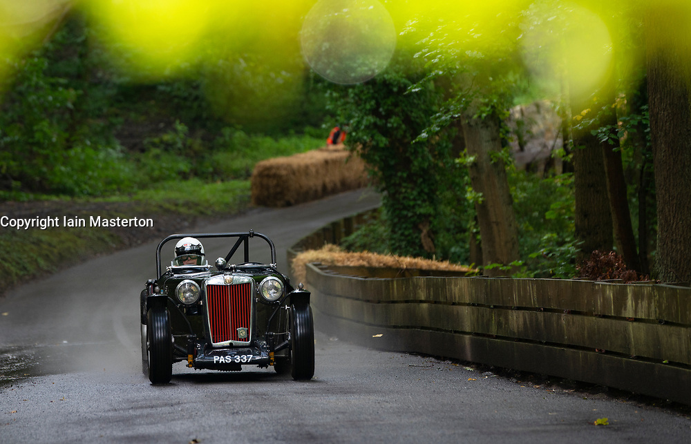 Boness Revival hillclimb motorsport event in Boness, Scotland, UK. The 2019 Bo'ness Revival Classic and Hillclimb, Scotland's first purpose-built motorsport venue, it marked 60 years since double Formula 1 World Champion Jim Clark competed here.  It took place Saturday 31 August and Sunday 1 September 2019. 20 Keith Benningfield MG TC