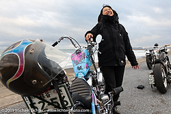 Yumiko Amino with her custom 1979 Harley-Davidson Shovelhead on the SureShot ride around Chiba, Japan. Saturday, December 8, 2018. Photography ©2018 Michael Lichter.