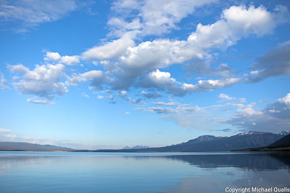 Kluane Lake at sunset in the Yukon Territory.  Canada