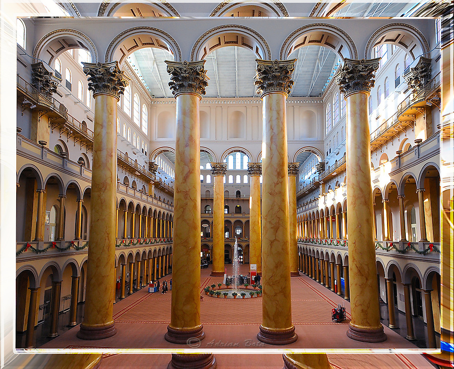 """The Atrium of The Building Museum, Washington DC <br /> <br /> Lead Frame of a 3D Lenticular Series, Printable up to 24x36"""""""