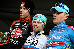February 10, 2018 - Lille, BELGIUM - Belgian Yannick Peeters, Belgian Eli Iserbyt and Belgian Thomas Joseph pictured on the podium after the U23 race of the Krawatencross cyclocross in Lille, the eighth and last stage in the DVV Verzekeringen Trofee Cyclocross competition, Saturday 10 February 2018. BELGA PHOTO DAVID STOCKMAN (Credit Image: © David Stockman/Belga via ZUMA Press)