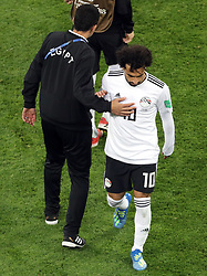 Egypt's Mohamed Salah appears dejected after the FIFA World Cup 2018, Group A match at Saint Petersburg Stadium.